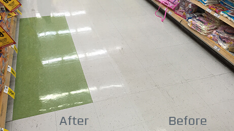 Citrus Scrub N Shine Before and After on a floor at a grocery