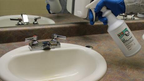 Neutral Germicidal Cleaner Spraying on sink