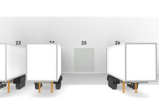 Illustration of warehouse entrance for trailers