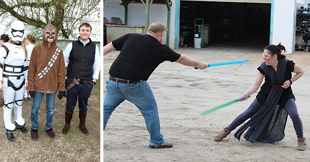 Star Wars Day at Essential Industries - With light saber battles