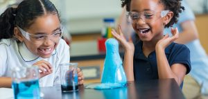 Children excited by science