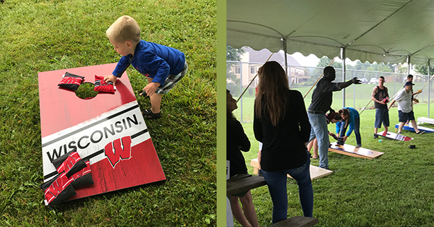 Photos of Bean Bag Toss Games during Essential Industries Annual Picnic