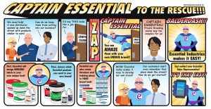 """Captain Essential To the Rescue!!! Clients of Essential Industries are talking to one of their sales representatives. """"We need help! A new distributor opened up down the street with products similar to ours!"""" Asking the representative, """"How do we keep them from cutting into our business?"""" The representative slowly moves to the janitor's closet and states, """"I'd say THIS looks like a job for..."""" (ZAP)Captain Essential appears and says, """"You can AMAZE them with your own unique brand!!"""" Captain Essential flies out of the janitor's closet. One of the clients, looking amazed, says, """"Captain Essential! Private Branding seems way too complex for us!"""" """"BALDERDASH!! Essential Industries makes it EASY!"""" Captain Essential exclaims, """"First, Essential will design AMAZING labels in your own unique look! Then, choose which Essential products you want in your own brand!"""" He then continues, """"Essential can also create literature and training pieces in your brand look!"""" The clients look astounded at the news. """"WOW! Essential really makes it easy to develop our own brand! Our customers won't even remember that place down the street! How do we get started?"""" Captain Essential pulls out his phone and says, """"Just contact your Essential Sales Representative. It's that easy!"""""""