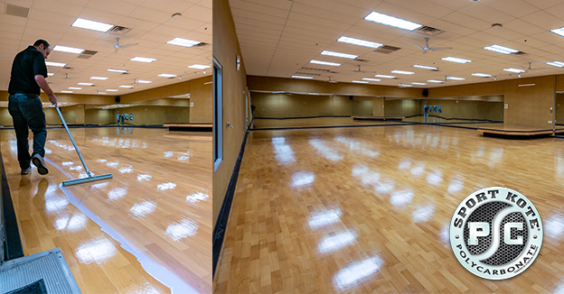 Laying down Sport Kote PC on a Gym Floor and a second pic of the finished floor