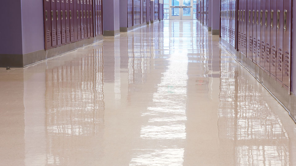 G2 Finish on School Floor lined with lockers