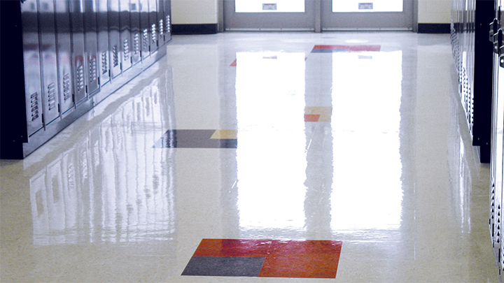 X-Coat Nano shining floor on a low perspective down a hall