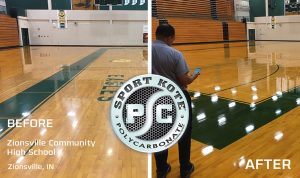 Sport Kote PC before and after on a gym floor