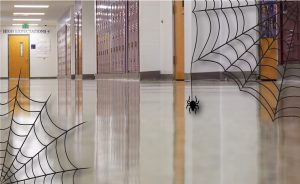 Nice shine to a floor with spooky spider webs