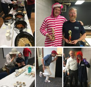 Chili and Costume Contest: Chili, costumes of: Cheshire Cat, Forrest Gump, one of our lab techs