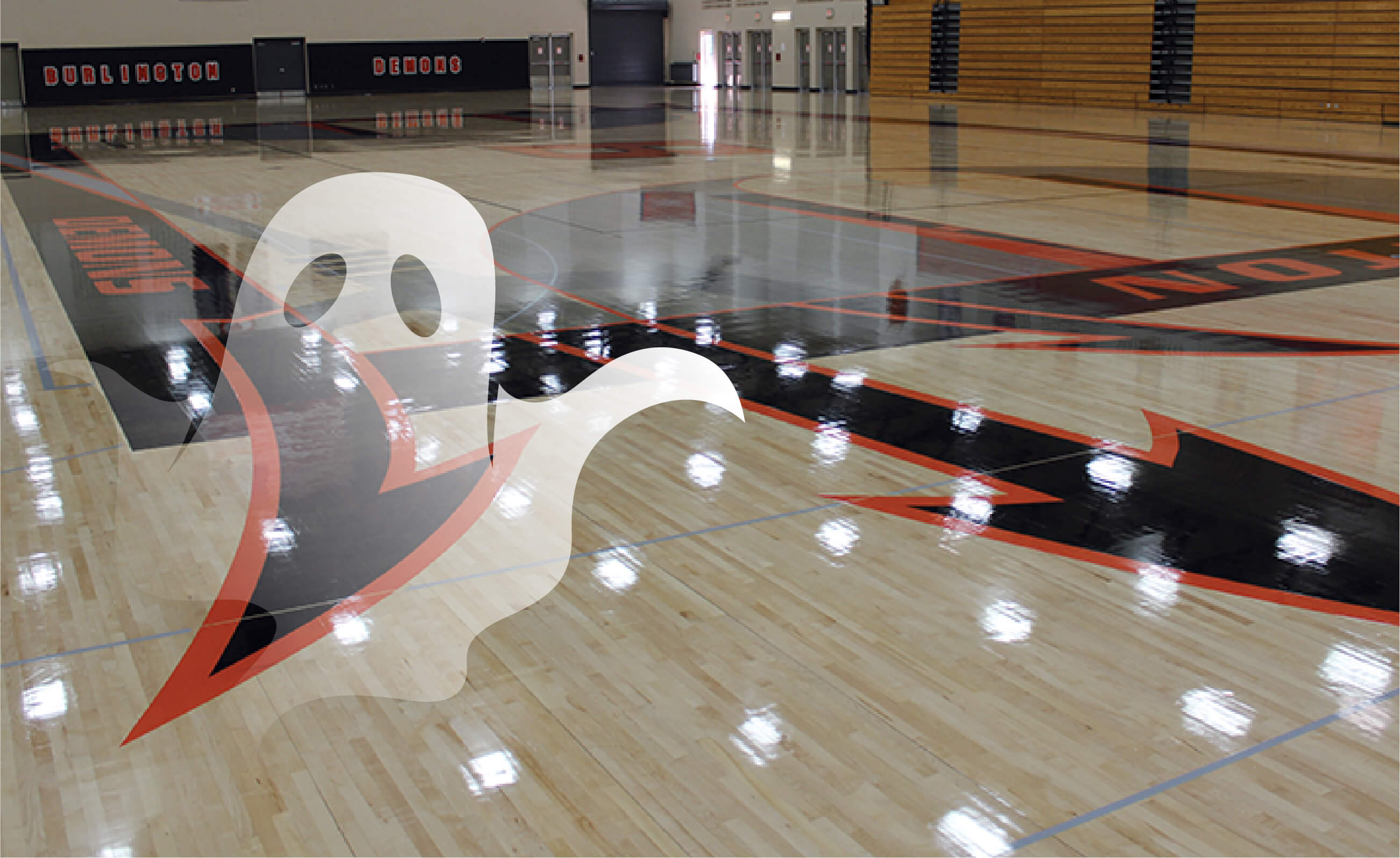 Avoid Ghosting: Gym Floor with an animated ghost hovering above it