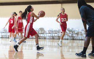 High School Basketball Girls Getting ready to take a shot